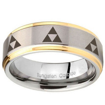 10mm Multiple Zelda Triforce Step Edges Gold 2 Tone Tungsten Personalize... - $44.99