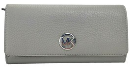 Michael Kors Fulton Ash Grey Large Purse Wallet Pebbled Leather - $276.68