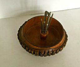 vintage mid century nutcracker bowl tree bark wood with  metal nut crack... - $24.70