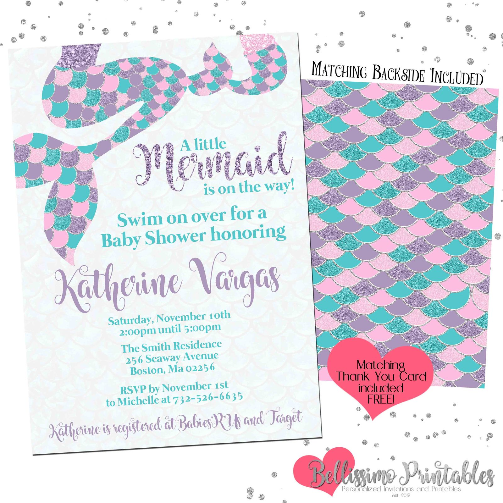 Mermaid Tails Glitter Baby Shower Invitation and 50 similar items