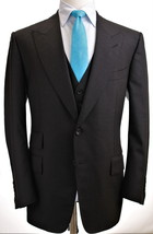 NWOT Tom Ford Windsor Fit A 3 Piece Charcoal Flat Front Suit, EU56/US40 - $2,695.00
