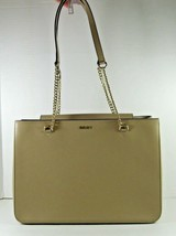 Dkny NEW Large Shoulder Hand Bag Tan Beige Magnetic Closure Textured Cha... - $88.56