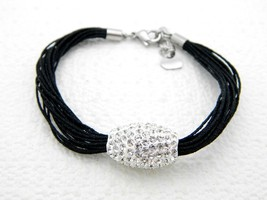VTG Stainless Steel GM Metallic Black Nylon Clear Rhinestone Bracelet - $39.60