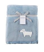 NWT Carters Blue Blanket White Dog Plush Satin Edges Puppy Baby Boy Plush Fleece - $24.69
