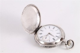 Antique Vintage Old Swiss Made Billodes Silver Niello Mens Pocket Watch. - $382.24