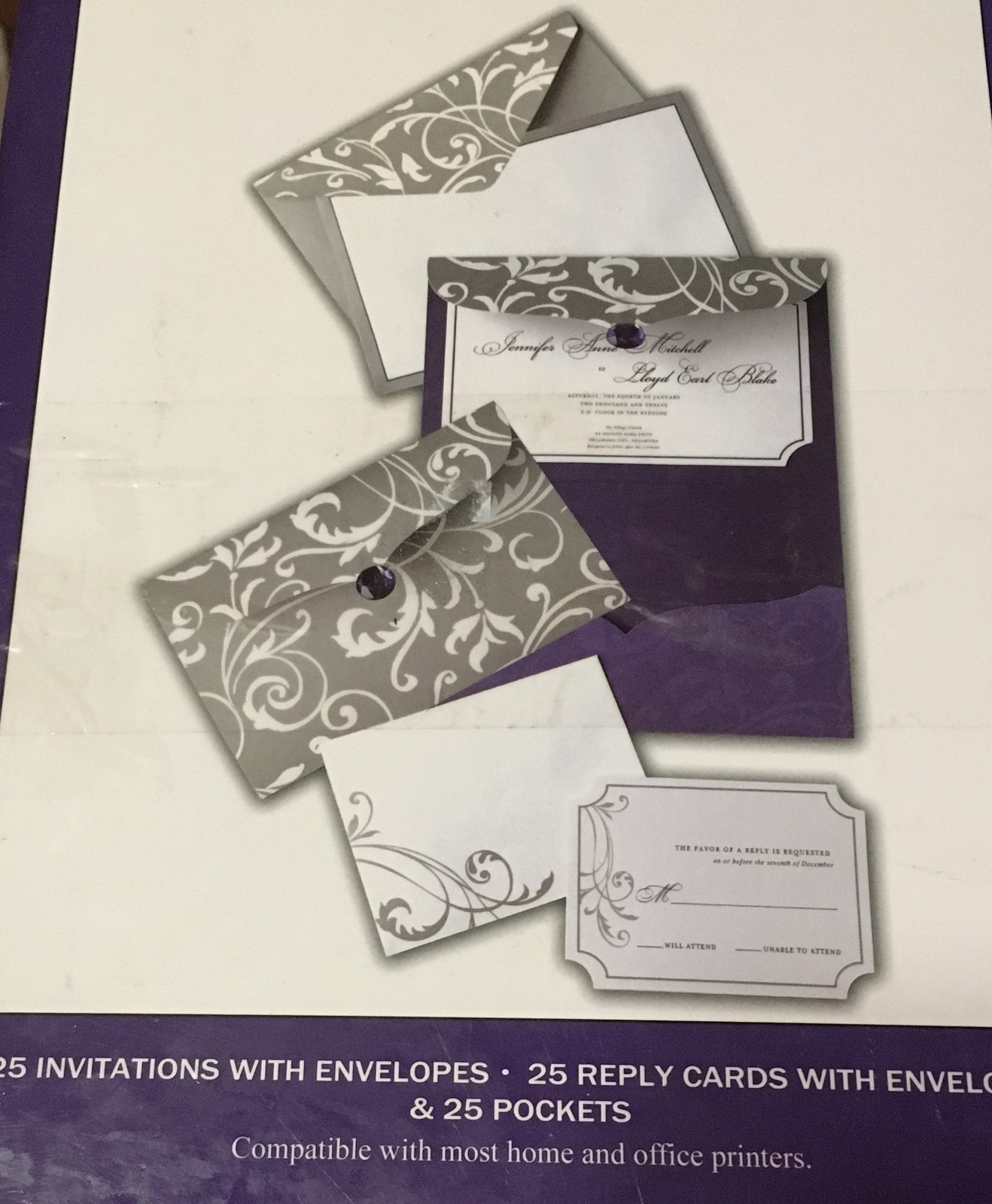 His & Hers Wedding Invitations Complete Gray & White Floral Purple Accent 25 Box