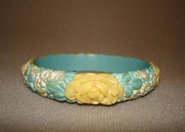 Vintage Carved Celluloid Floral Flower Pattern Bangle Bracelet - $39.00