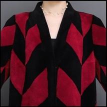 Luxury Long Red And Black V Neck Chevron Design Lamb Shearling Sheepskin Coat image 6