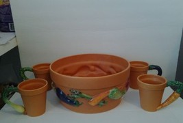 RARE Department 56 Terra Cotta Garden Collection of 4 Mugs and 1 Pot  - $130.89