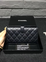 AUTHENTIC CHANEL Rue Cambon Black Hot Pink Lambskin Bi-Fold Wallet Clutch Bag image 2