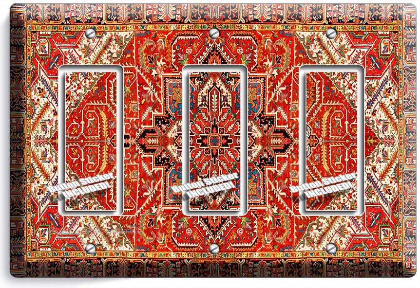 PERSIAN RUG PATTERN ORNAMENT TRIPLE GFI LIGHT SWITCH COVER PLATE ROOM HOME DECOR - $16.17