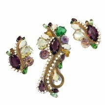 Vintage HTF Parure Earrings Brooch Pin Crystal Milk glass 50's -60's gol... - €174,82 EUR