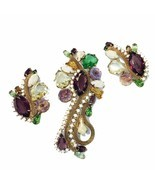 Vintage HTF Parure Earrings Brooch Pin Crystal Milk glass 50's -60's gol... - €178,51 EUR