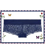 L  Navy Blue Night SHINE Lace PINK Victorias Secret Cheekster lowrise Pa... - $9.99
