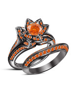 Flower Style Bridal Wedding Ring Set Black Gold Over 925 Silver Orange Sapphire - $103.88