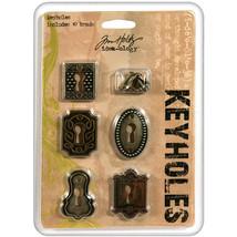 "Idea-Ology Metal Keyholes W/Brads .75""X1"" To 1""X1.5"" Antique Nickel,Bras... - $12.68"