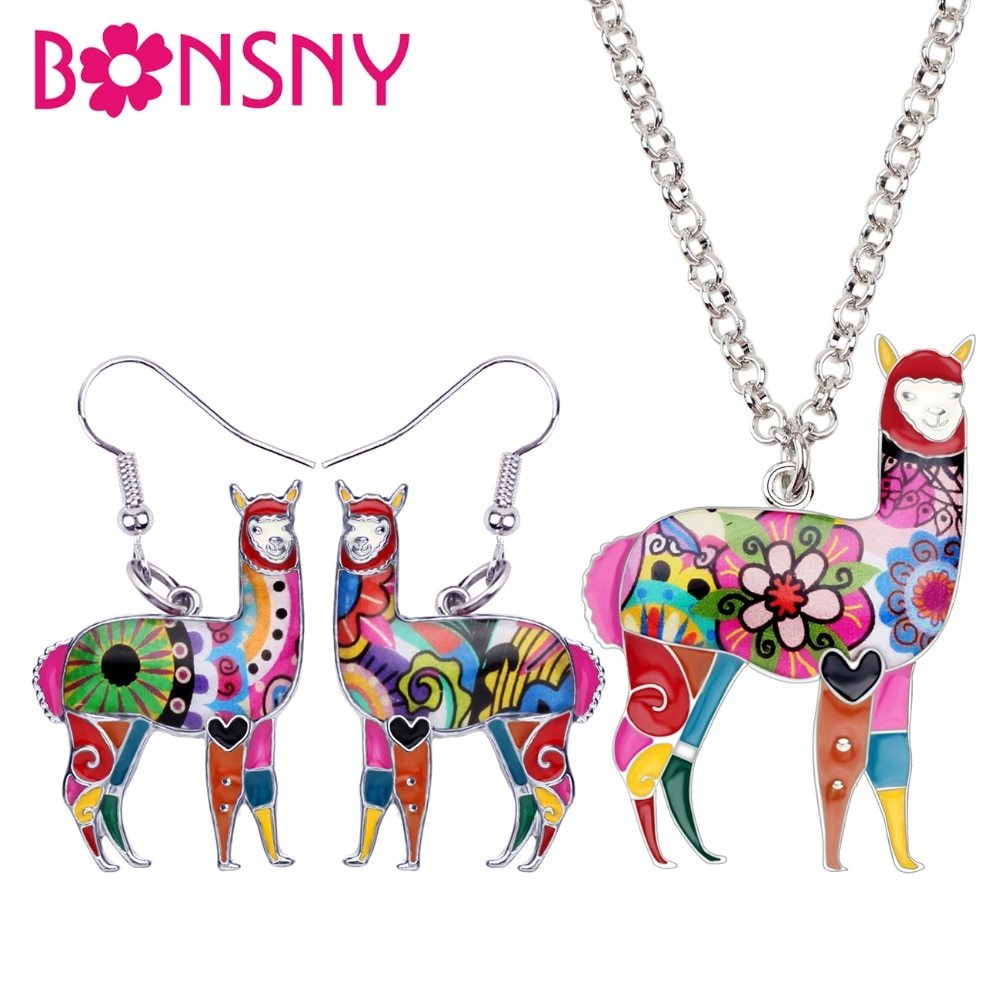 Primary image for Bonsny Enamel Alloy South America Alpaca Earrings Drop Dangle Necklace Chain Pen