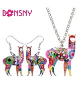 Bonsny Enamel Alloy South America Alpaca Earrings Drop Dangle Necklace C... - $24.29