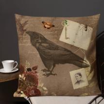 Shabby Chic Badge Raven Bird Decorative Pillow Cushion Romantic Victorian   - $23.99+