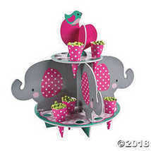 Pink Elephant Treat Stand With Cones - $15.36