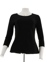 Women with Control Choice Solid Printed Knit Top 3/4 Sleeve Black M NEW ... - $18.79