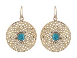 Women Nickle Free Brass Dangle Earring Turquoise Gemstone Indian Ethnic ... - $12.34