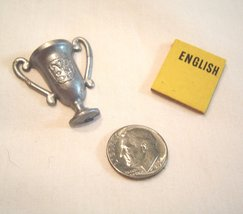 Vintage Miniature Silver Trophy and English Book Doll House - $9.99