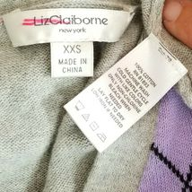 Liz Claiborne NY Gray Purple Pink Argyle Diamond Cardigan Sweater Size XXS image 4