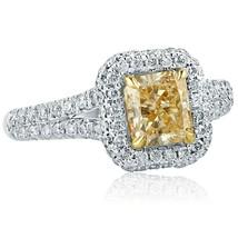1.76 Carat Radiant Cut Pave Halo Yellow Diamond Engagement Ring 14k Whit... - $2,534.07
