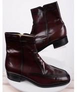 Florsheim Mens Essex Boots 8.5 Leather Side Zipper Dark Cherry Cordovan ... - $98.99