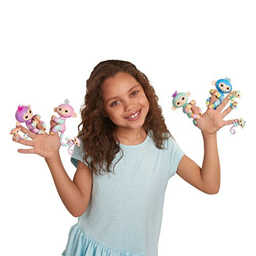 WowWee Fingerlings Baby Monkey & Mini BFFs Violet and Hope Blue, Mauve