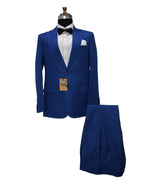 Men Blue Two Piece Suits Designer Elegant Dinner Party Wear Wedding Suits - $159.99