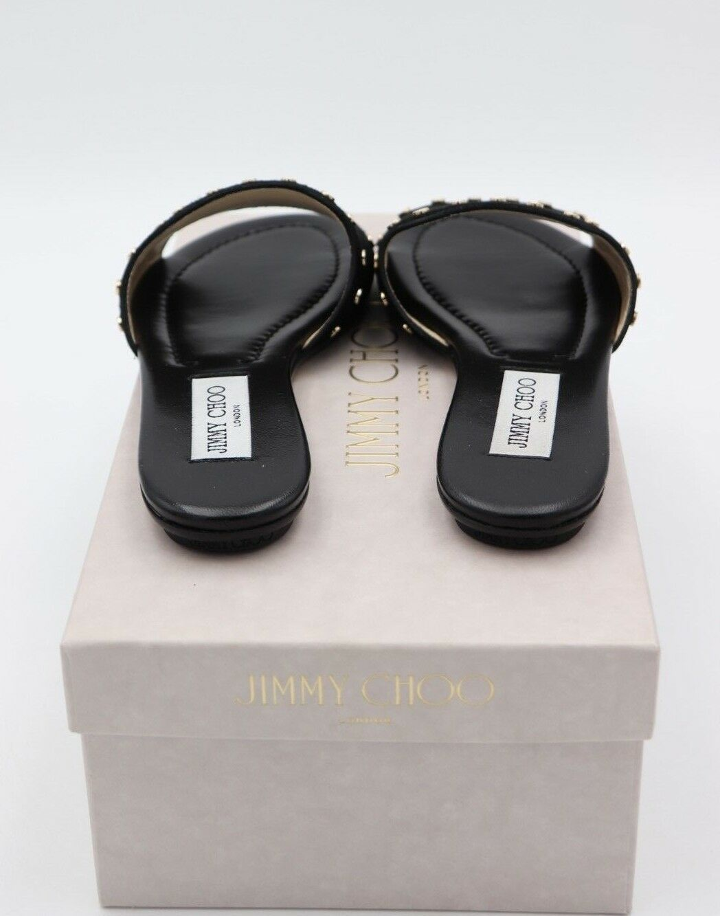 NIB Jimmy Choo Nanda Studded Black Suede Slides Sandals 6 36