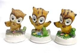 Napco Napcoware Vintage Owl Lot of 3 Figurines With Animals Ceramic Matt... - $27.43