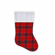 """Holiday Style Plaid Stocking with White Furry Cuff 18"""" - $6.00"""