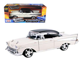 1957 Chevrolet Bel Air Hard Top Cream with Custom Wheels 1/18 Diecast Model Car  - $58.79