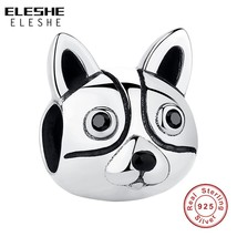 ELESHE 100% 925 Sterling Silver Cute Dog Animal Beads Charms Fit Pandora... - $19.52