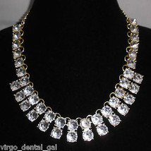 VTG Heavy Gold Tone Clear Plastic Rhinestone Bib Dangle Runway Choker - $99.00