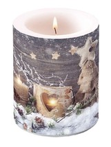 RUSTIC CHRISTMAS TREE UNSCENTED CANDLE 75 HOURS BURN TIME 10 X 12CM - $22.16