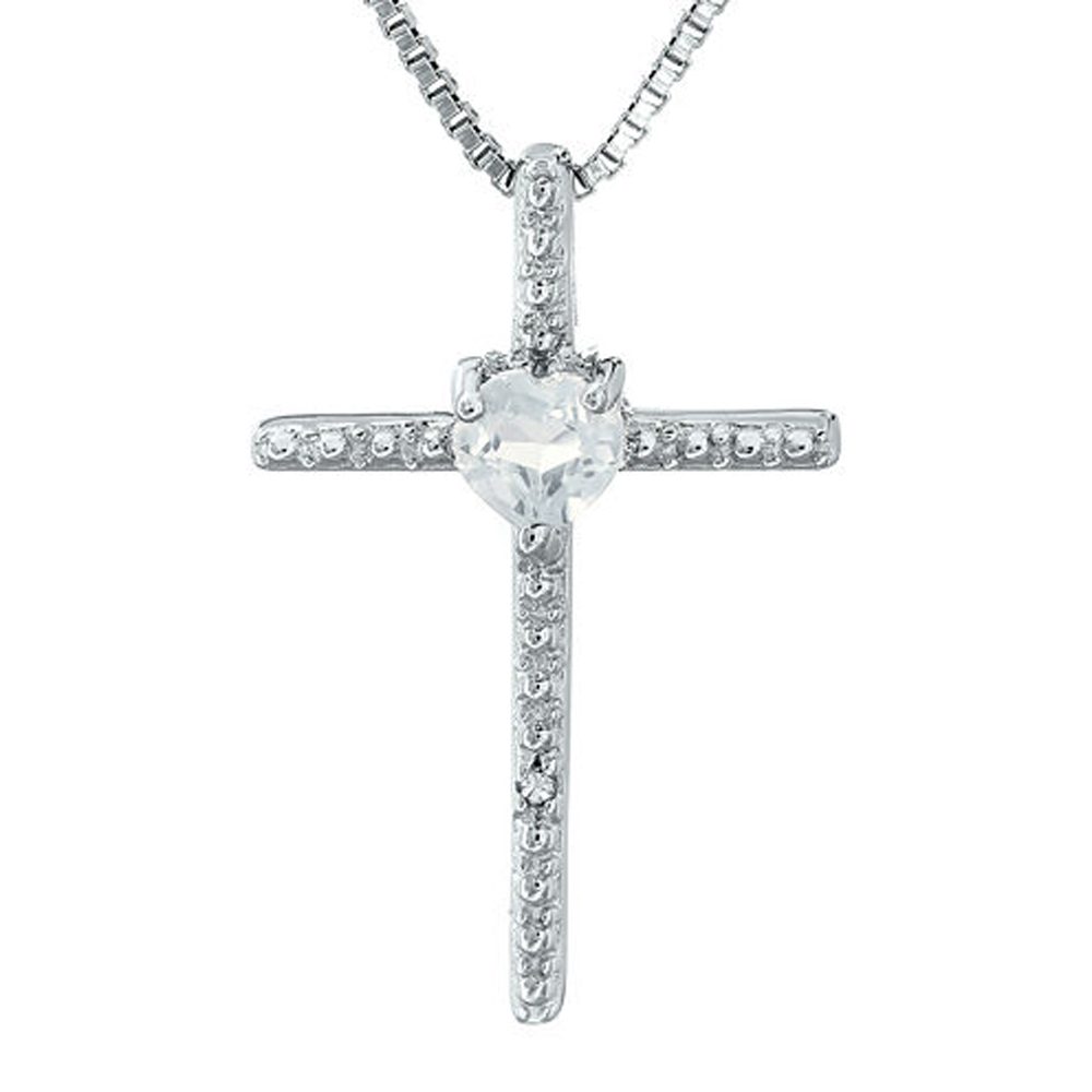 "Primary image for D/VVS1 Sim.Diamond 14K White Gold Fn Cross and Heart Pendant 18"" Chain Necklace"