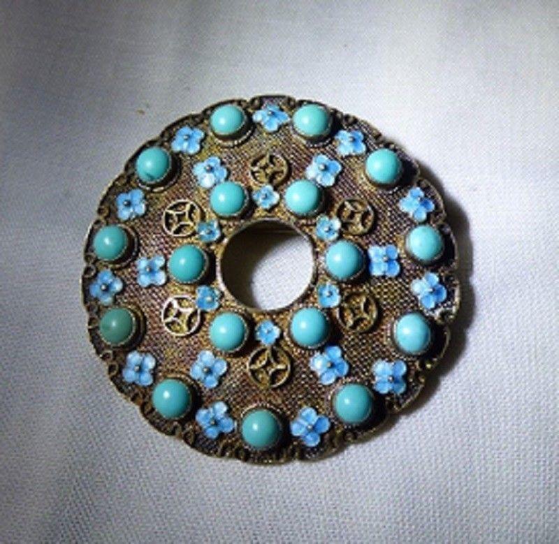 1950s Oriental Gold Vermeil Silver Mesh CIRCLE PIN Turquoise Balls Enamel Flower