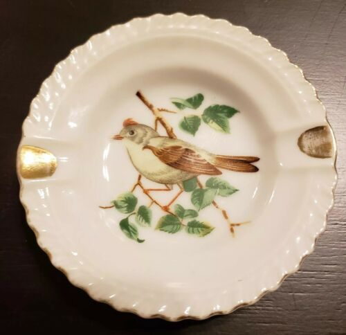 PLATE VINTAGE TRINKET ASHTRAY AMERICAN SONGBIRD BIRD GOLD TRIM JAPAN SMALL