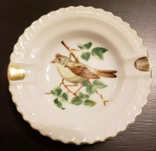 PLATE VINTAGE TRINKET ASHTRAY AMERICAN SONGBIRD BIRD GOLD TRIM JAPAN SMALL - $6.35