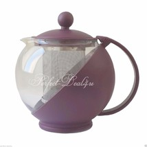 Clear Glass Teapot Round w/ Infuser Filter Tea Hot/Cold Burgundy Red 750... - $7.61