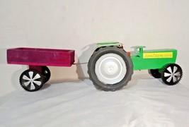 Handmade Big John Deere Tractor Trolly Model Toy Show-Piece Wooden  Trac... - $117.32