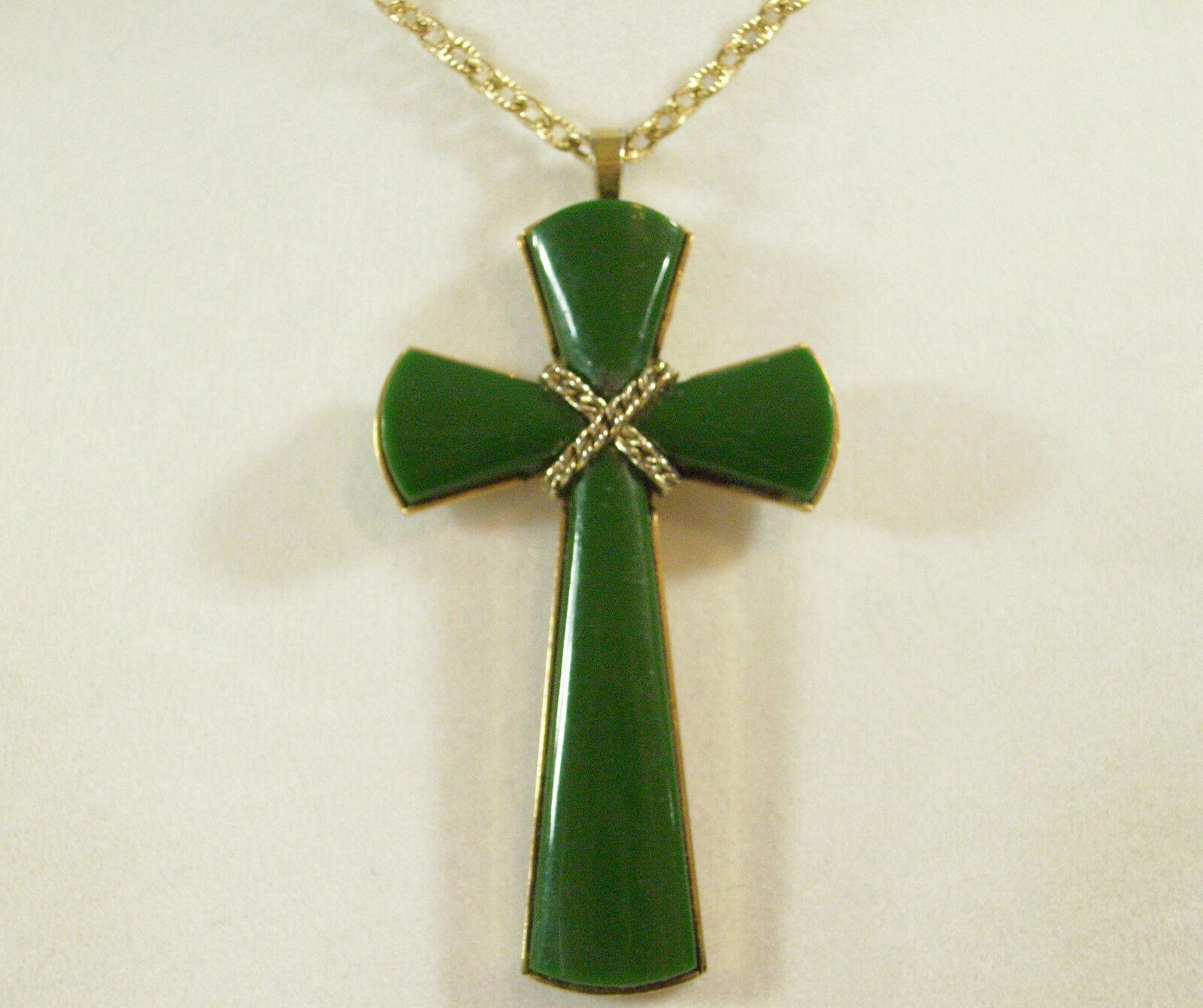 AVON JADE Green JULIETTE CROSS Pendant Chain Necklace Gold Plated Vintage Estate
