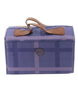 JOY Plaid Nylon Leather Lg Better Beauty Case Lavender One Size NEW 611-989 - $37.60