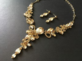 Gold champagne necklace, bridal necklace, rhinestones crystals necklace,... - $32.88