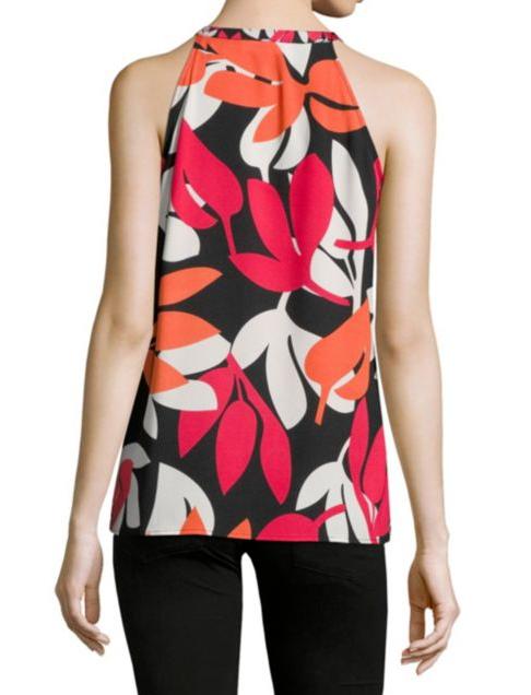 $59.5 Calvin Klein Mixed-Print Halter Top Bright Orange XL