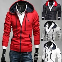 Men Fashion Red Hat Casual Fawn Hoodies Jacket Coat (M/L/XL/XXL) - $38.76